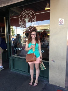While in Seattle, if you are a coffee snob like myself it is only natural to go to the oldest Starbucks. I am drinking a hazelnut iced coffee, my favorite drink in the summer.