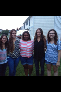 Here are some of my best friends and so you know who everyone is I'm naming them left to right: Katie, Lindsay, Jade, Lauren, and me! This was at Jade's graduation party one of our last times seeing each other!