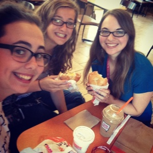 I also made some other friends at college, and here they are. This is one of our first outings to Dunkin Donuts, my favorite place for coffee.