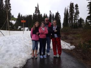 This is my family (minus my mom who's taking the picture) standing on part of a mountain in Washington in the snow in July. One of the coolest (literally that's why I'm wearing moose pants, I had to buy them) vacations ever.