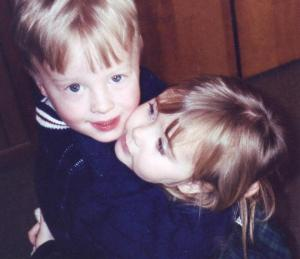 Well we don't have any semi-decent recent pictures so this is me and my cousin Chris from back when we were really little. We have gotten closer as we've grown up, and we do things like go out to eat together. This past summer we got to go to Ireland together and that was amazing.