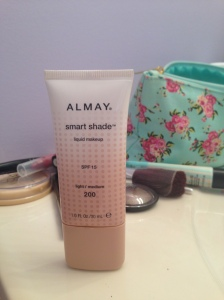 "This is the foundation I use, Almay Smart Shade. I can't say I'm a huge fan, and I think I'll probably find something else when it runs out. It tends to need a lot of rubbing in otherwise the ""smart"" parts leave your face a little orange."