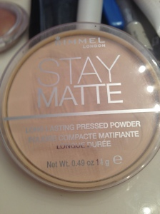 This is Rimmel Stay Matte Powder in transparent. Basically it just holds all of my makeup in place, and it works rather well. This product was suggested to me by my friend Katie, who actually helps with a lot of makeup and stuff since I'm not super girly and into it like she is.