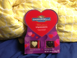 Ghiradelli, can you say yum? The one on the left is milk chocolate with white chocolate in the center, not my favorite but it's good still. On the right it is milk chocolate with a dark chocolate center which is so freaking fantastic I cant' handle it.