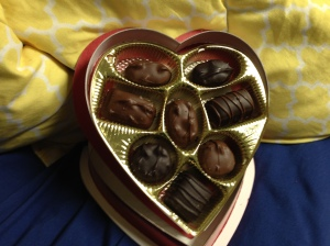 So it's not Valentine's without a heart-shaped box of chocolate. Now there were three pieces of fruit flavored chocolate which is a huge turn off to me, but the rest were fine, nothing special. This is more of an obligatory purchase than a delicious purchase if you ask me.