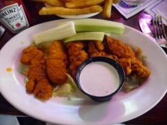 Lauren and Jade each got boneless wings and fries.