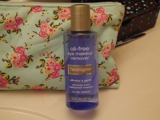 First of all, this says oil free, but it's not. It does work to get off waterproof makeup which I tend to use so that's really good. It is an eye makeup remover and it doesn't burn my eyes at all.
